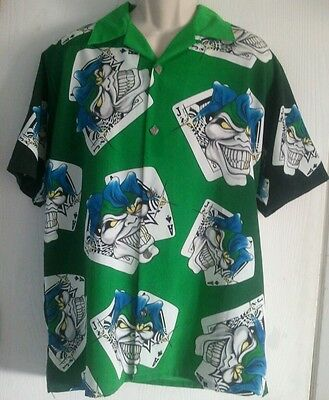 Joker black jack Ace button down shirt short sleeve Dragonfly Roadhouse green