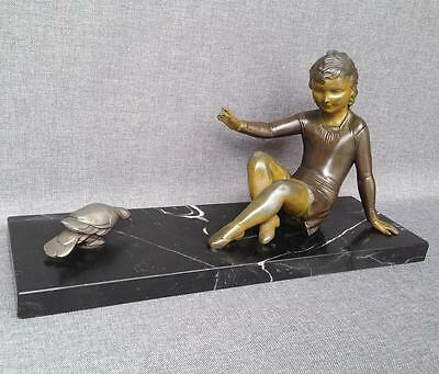 Antique Art-Deco sculpture France 1930's woman and bird regule on marble
