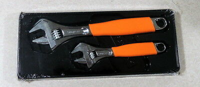 Snap On Orange FADH702 Adjustable Wrench Set, 2pc. Flank Drive New!