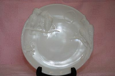 vintage / antique milk glass plate owls, frog, hawk & moon