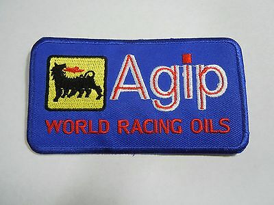 """AGIP Petroleum Blue Embroidered Iron-On Uniform-Jacket Patch 4"""" x 2"""""""