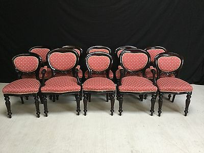 Set 10 Beautiful Victorian Mahogany Balloon Back Chairs Pro French Polished.