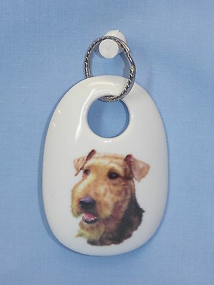 Airdale Terrier Dog Porcelain Key Chain Fired Decal Handmade 2 3/4 In