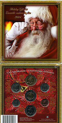 2004 Canada Holiday Gift Set 7 Coin Royal Canadian Mint Set Coloured Red Santa