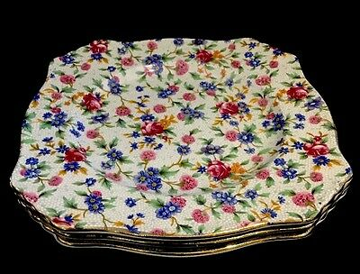 Royal Winton Grimwades Old Cottage Chintz 3 Bread and Butter Plates c.1930-40's