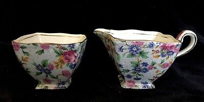 Royal Winton Grimwades Old Cottage Chintz Creamer and Sugar Bowl, 1930's