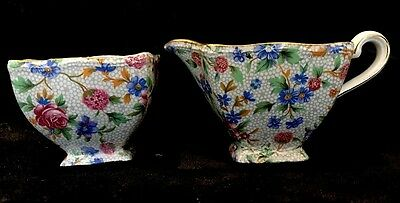 Royal Winton Grimwades Old Cottage Chintz Creamer and sugar Bowl, 1940's