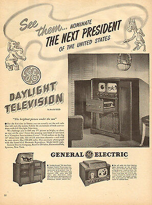 1948 Ad GE Daylight Television weird early TV Radio Phono combo models 032617