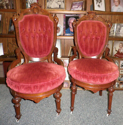 Vintage Victorian His & Hers Side Chairs Red Upholstery