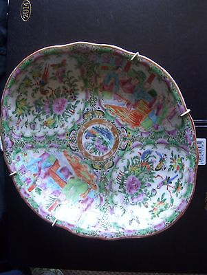 Antique Fabulous 19th Century Chinese Canton Famille Rose Porcelain Dish