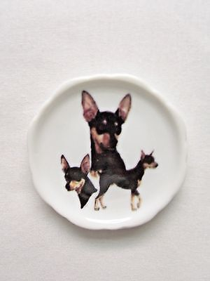 Miniature Pinscher Dog 3 View Porcelain Plate Magnet Fired Decal- 1