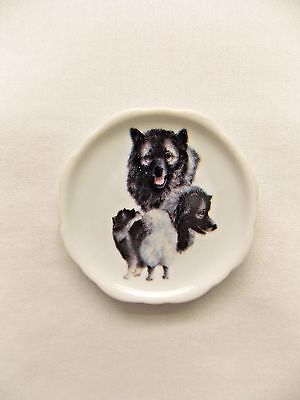 Keeshond Dog 3 View Porcelain Plate Magnet Fired Decal- 88