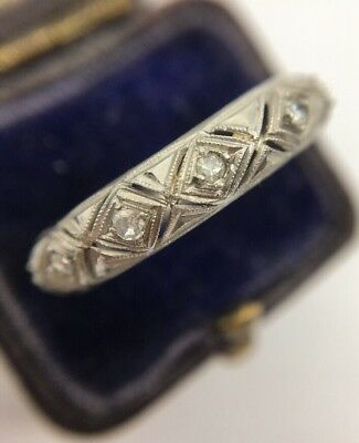 Antique White Gold Art Deco Diamond Eternity Full Ring Band Very Pretty Thick