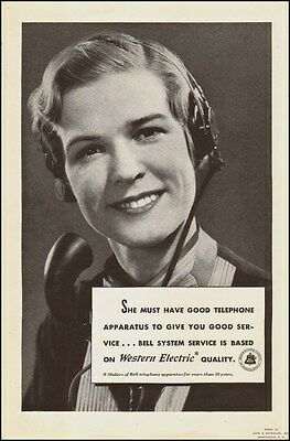 1940 vintage AD WESTERN ELECTRIC , picture Smiling telephone operator 062217