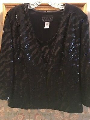 ALEX EVENINGS 2 pc. BLACK SEQUIN JACKET and SHELL Size MEDIUM EUC