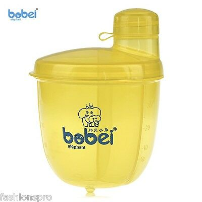 bobeielephant Bebé Leche Polvo Dispensador Snack three-cell Giratorio Contenedor