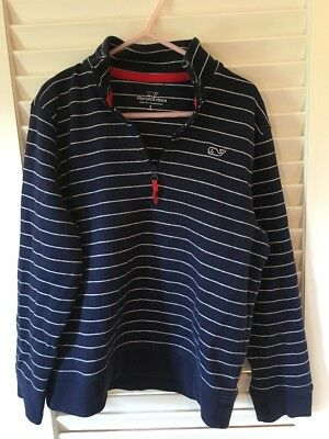 Vineyard Vines Boys Girls Half Zip Whale Striped Pullover Youth Small (8-10)