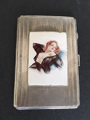 Heavy 226g Antique Solid Silver Cigarette Case Erotic Lady Enamel Portrait