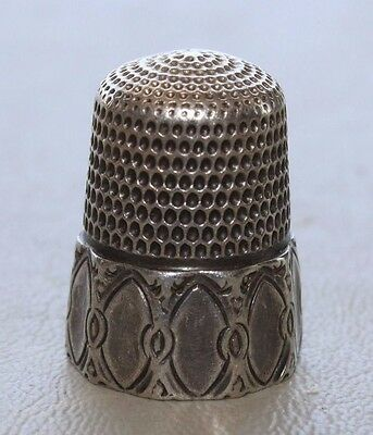 Antique Simons Bros Fancy 10 Panel Sterling Silver Thimble Size 10