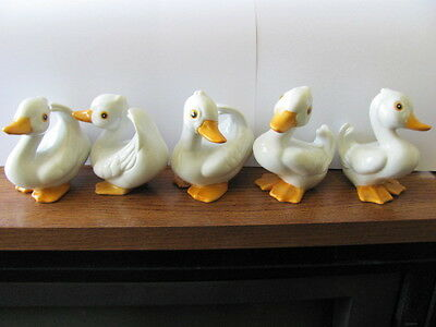 All Five Homco Home Interior Porcelain Duck Figurines - #1414