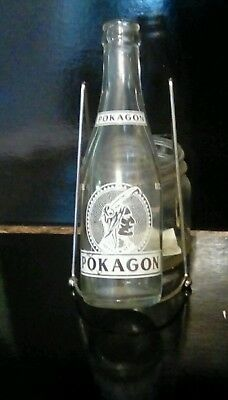 Vintage pokagon white soda bottle