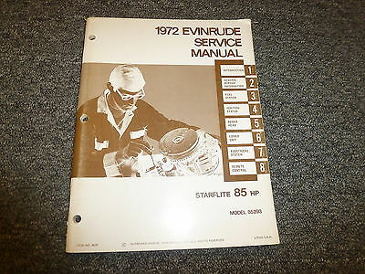 1972 Evinrude Starflite 85 HP Outboard Motor Shop Service Repair Manual