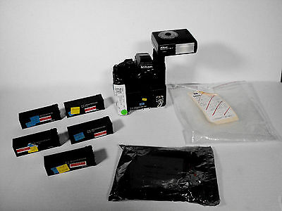 Vintage NASA Space Shuttle NIKON F3 Small 35mm Camera w/ Flash & 5 Battery Packs