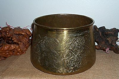 """Vintage ANTIQUE Hand Chased  ISLAMIC PERSIAN Copper Cache Pot 10"""" Bowl"""