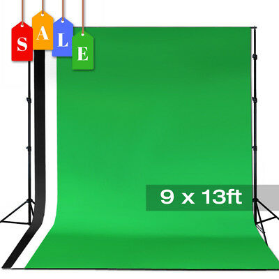 10ft Backdrop Support Stand 9x13ft Muslin Background Photo Video Studio Kit