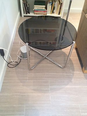 Knoll MR Mid Century Modern Coffee/Side Table Stainless Black Glass