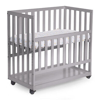 CHILDWOOD Bedside Baby Crib First Bed Sleeping Bedding 50x90cm Beech Grey BSCNSG