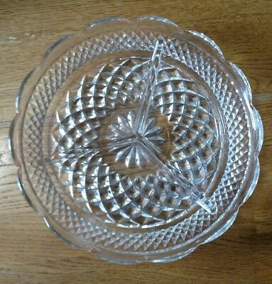 Wexford Glass Relish Tray Divided 8 1/2 inches