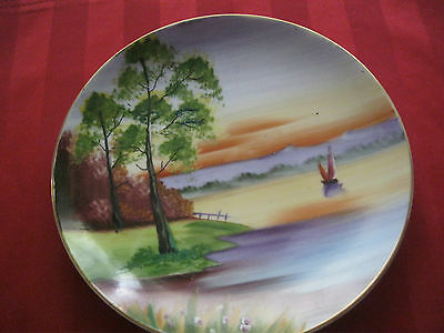 """Vintage Hand Painted Decorative Porcelain Plate Marked Made in Japan 8"""" Diameter"""