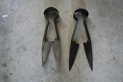 Set Of Two Vintage Metal Rusty Sheep Shears Cutters Tool