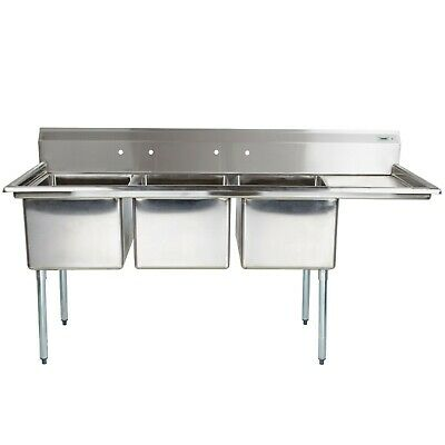 """NSF 3 Compartment Stainless Steel Sink w Left/Right Drain Board 26""""x86"""""""