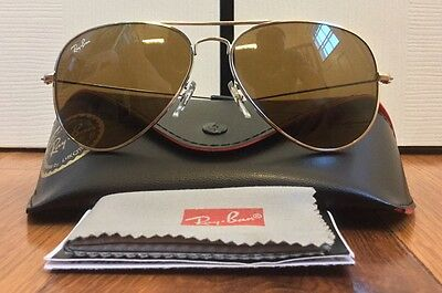 Ray Ban Aviator Gradient Sunglasses Silver Frame Brown Lens Unisex RB3025