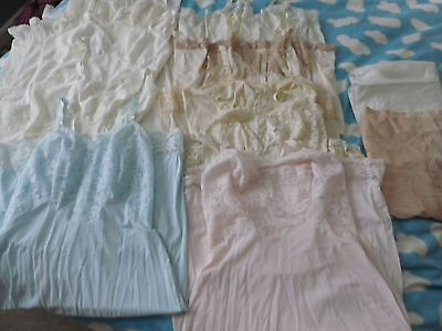 Vintage mix lot of 12 nylon slips  size Small
