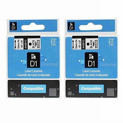 Unismar 2 Pack Label Tape Compatible for DYMO D1 45013 S0720530 Black on Whit...
