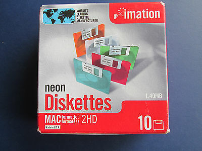"Imation Neon MAC Formatted 2 HD 1.4 MB 3.5"" Diskettes 10 NEW.  NIB"
