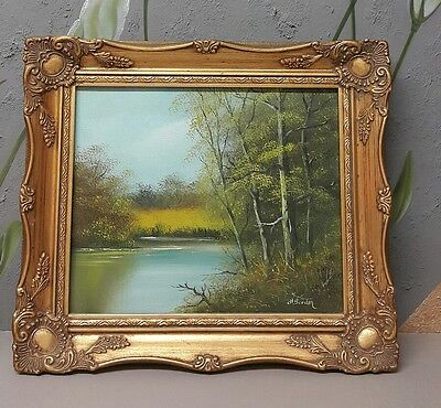 Oil Painting Cornish Landscape by Artist HARRY BARDEN -Wooden Frame Antique Gold
