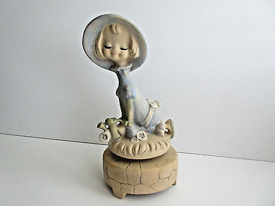 Vintage UC CTI Japan Ceramic Girl with Watering Can Rotating Music Box Figurine