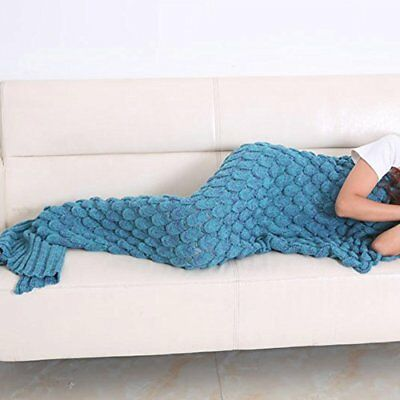 WOPS? Warm and Soft Knitting Mermaid Tail Blanket 7 diffenrent Colors Mermaid...