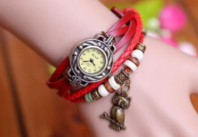 Owl Cow Leather Bracelet Watch women ladies fashion dress quartz wrist watch