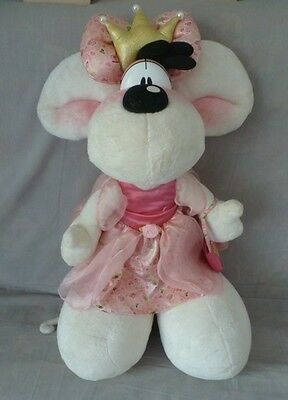 Peluche Diddl Diddlina géante reine couronne robe rose fleurie avec sac TBE 70cm