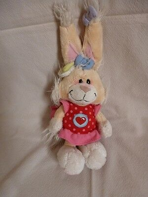 Peluche Diddl Lapine Mimihopps Robe rouge a poids rose TBE 25cm