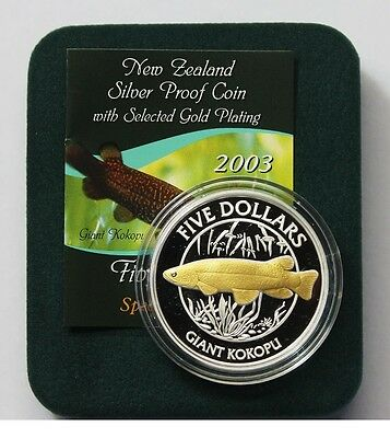 New Zealand - 2003 - 1 OZ Silver  Proof Coin-  Giant Trout Kokopu Rare
