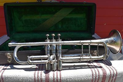Antique Conn Silver Trumpet- 1912 Vintage- Large Bore- Original Case-