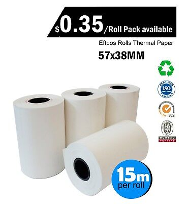 10/50/100/200/350 Rolls 57x38mm Eftpos Rolls Thermal Paper Cash Register Receipt