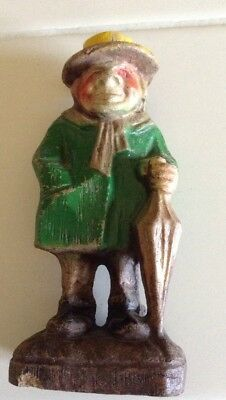 Antique Old Man Resin Figurine From About 1910 Yellow Hat Green Jacket