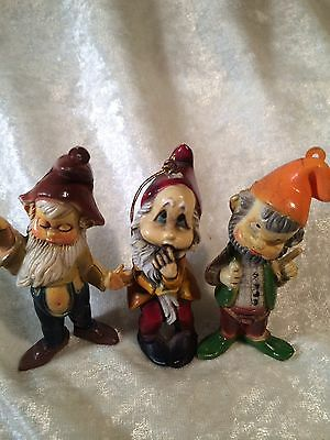 Vintage Plastic Elf Christmas Ornaments / Lot Of 3